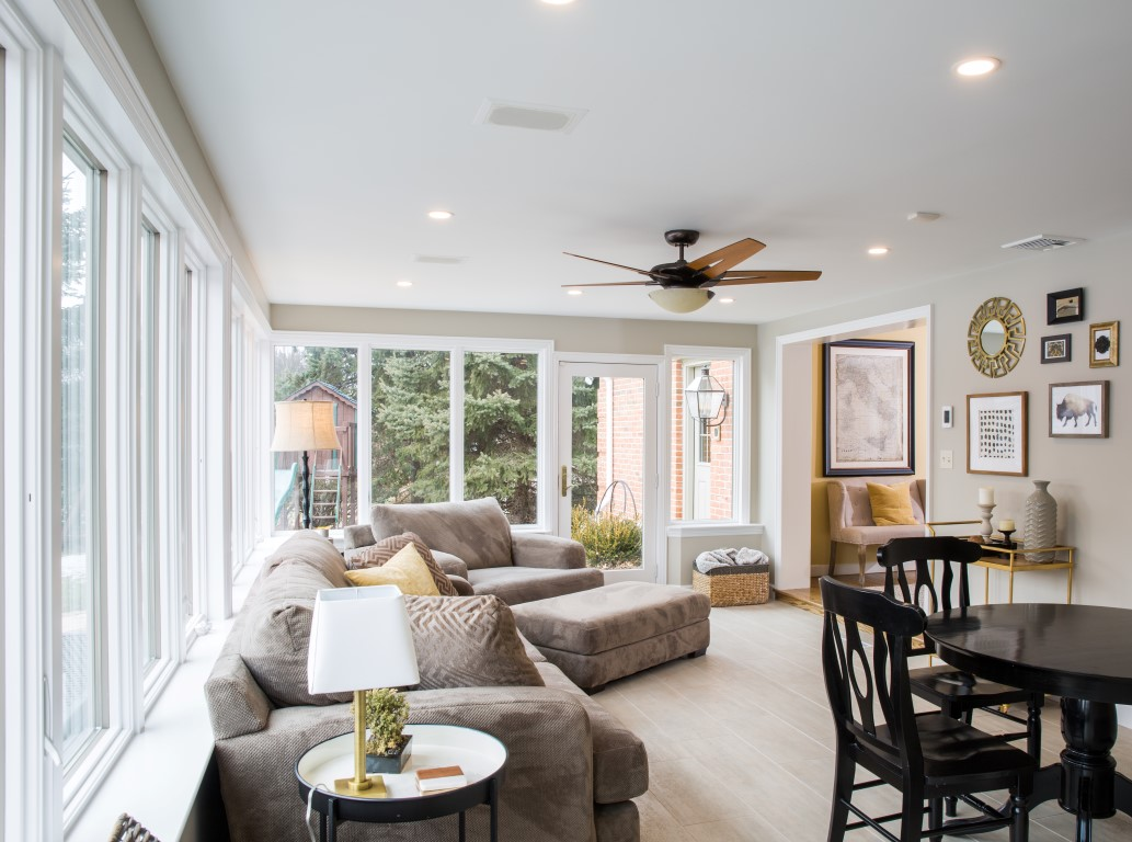 This Wyomissing, PA sunroom features porcelain tile floor and a built-in floor warming system.