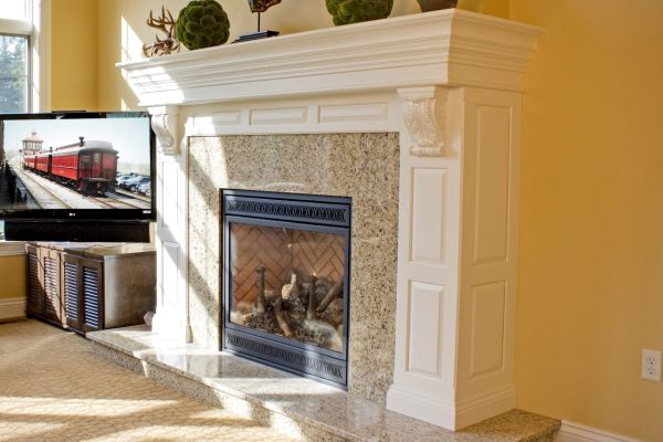 Custom fireplace mantel.