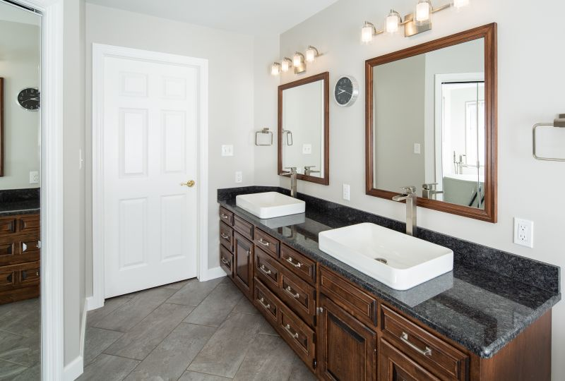 Bathroom countertops and sinks.