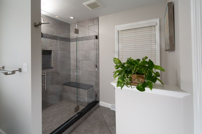 Tile shower with low-iron glass door.